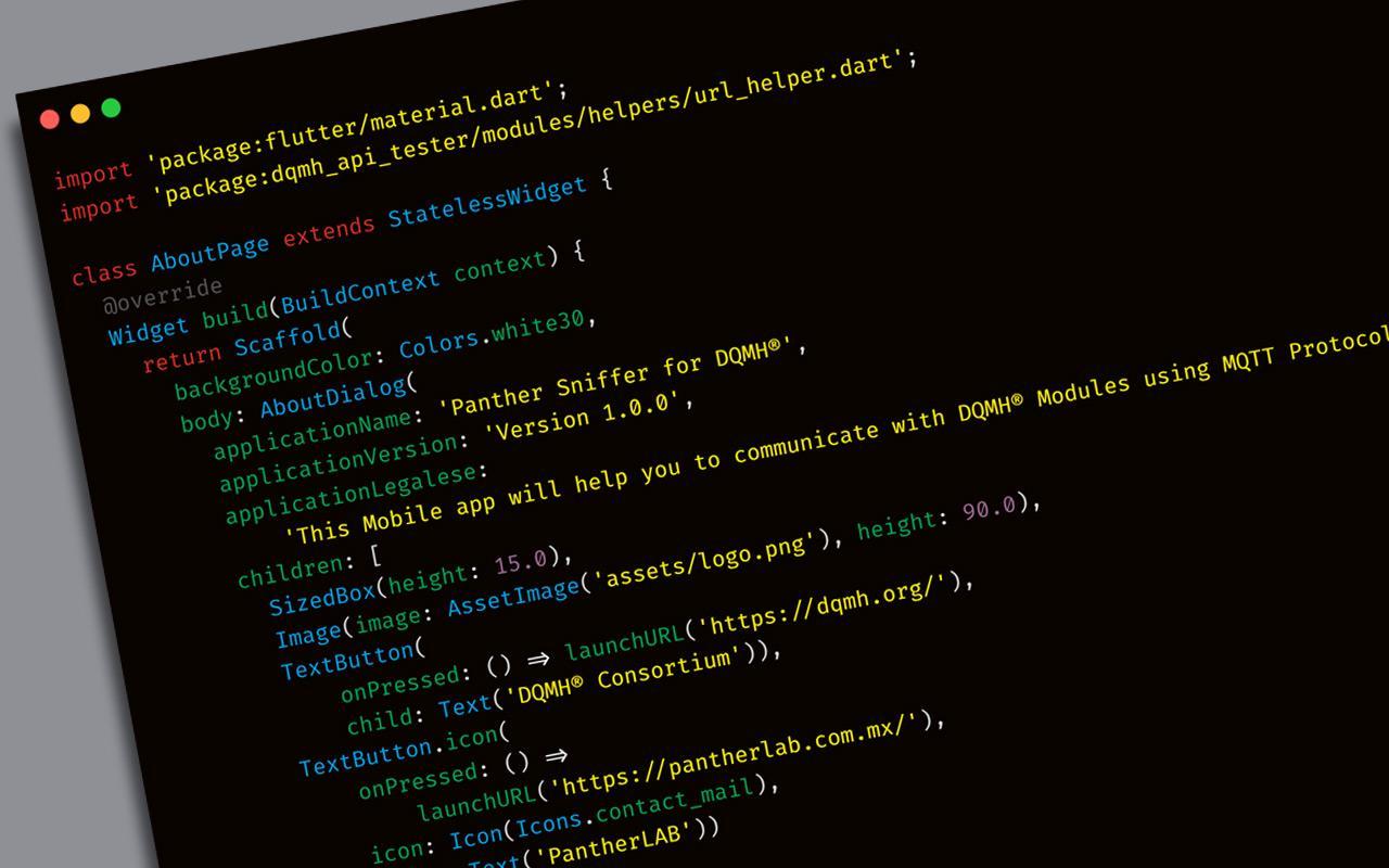código flutter ejemplo Panther Lab